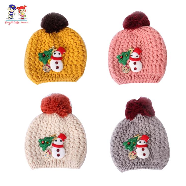 Children's hat in winter Christmas tree snowman labeling baby Beanie hat baby ball cap(China (Mainland))