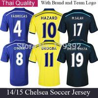 FABREGAS DROGBA LAMPARD OSCAR TORRES HAZARD DIEGO COSTA M.SALAH Chelsea Jersey 14/15 Short Chelsea 3RD Away Black Soccer Jersey
