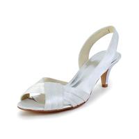 Free Shipping!Pretty Pleated Satin Upper Mid Heel Peep Toe Sandals Wedding Shoes CY0243