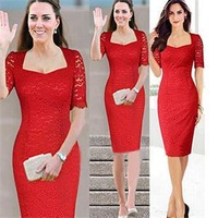 New Fashion Sexy Red Party Evening Dresses for Women/Square Collar Short Sleeve Lace Bodycon Dresses Women/Summer Women Clothing
