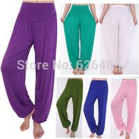 New 2014 Sports High Waist Yoga Full Length Harem Yoga Flare pants, Belly Sweatpant Elastic Waist Cluewear Boho Wide Leg Pants