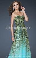 New Arrival Blue Leopard Print Chiffon Long Prom Dresses Sweetheart Floor Length Evening Dress 2014 Hot Sale