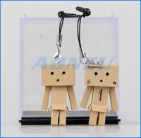 2014 Hot Gift 2pcs/lot Phone Dust Plug Chain Lovely 3.5cm Mini Danboard PVC Action Cartoon Figure Toys Danbo Doll Free Shipping