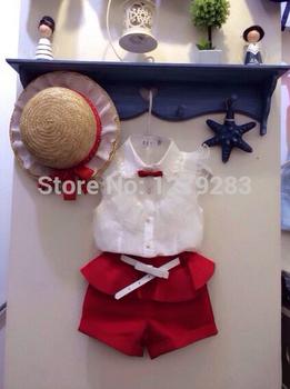 2015 лето мода шнурка девушки белые блузки + красный шорты комплект одежды детей ...