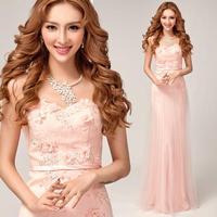 elegante sweet pink flowers beach evening Dress 2014 fashion off the shoulder robe de soiree plus size long prom dress 1862 kc