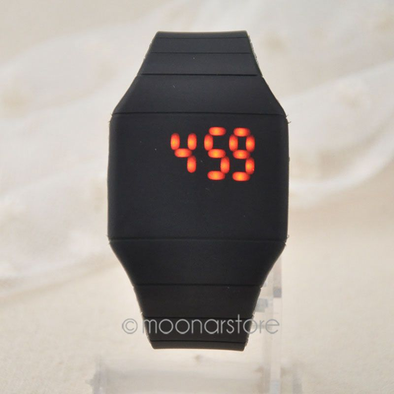 2015 Unisex Ultra Thin Cool Red LED Touch Screen Digital Display Wrist Watch Rubber Wristwatch ZMHM103#S2(China (Mainland))