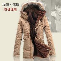 New 2014 Men Winter Outdoors Medium-Long Fleece Jacket Thickening Fur Hooded Army Green Parka Coat Free Shipping