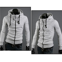 Freeshipping 2014 New Arrival Men's Fashion Hoodies Sweatshirts High Collar Hooded Jackets Solid Color Jackets