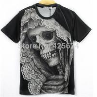2015 New 3d summer clothing lace skull printed short sleeve black shirts mens t-shirts women shirts round neck tops tees W129