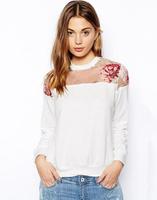 YG518-1 Flower print popular 2014 Autumn Women's Cotton Sweatshirts White hoody organza patchwork casual hoodies pullover