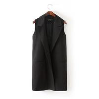 YG517-1 Korean style sleeveless feminino blazer 2014 spring autumn women fashion trench coat plus size women's clothing xxxl