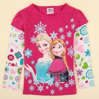 2014 Autumn New Girl Frozen T-Shirts Long Sleeve Kids Hoodies Children Girl Clothing Tshirts 2T-5T 1pc Free Shipping TYT-1438