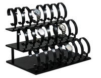 Acrylic Watch Display Rack Holder Show Stand Black color Three-layer