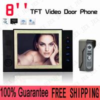 Home Color Video door phone doorbell intercom System 8 inch LCD Monitor 600TVL Night Version Camera