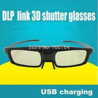 Cheapest price! 2pcs/lots 3d glasses DLP Link 3D Active Shutter Glasses for all DLP Link Projector