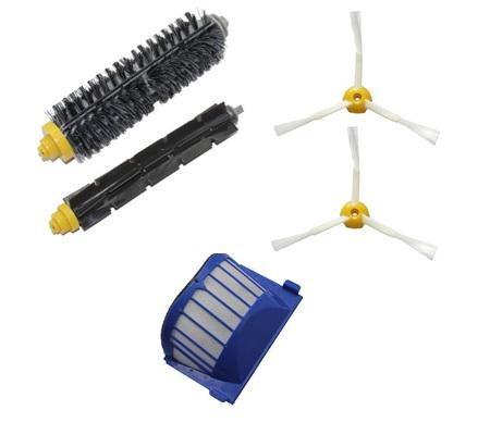 Aero Vac Filter & Bristle Brush & Flexible Beater Brush & Side Brush Pack for iRobot Roomba 600 Series Vacuum Cleaning Robots(China (Mainland))