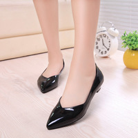 2014 new fashion work shoes comfortable shoes cusp women shoes OL Shallow Thick with Patent leather shoes pumps yyx72