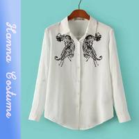 2014 new fashion tiger print blouse blusa women clothing autumn white cotton woman shirt camisa