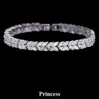 Jewellery  White zircon bracelet princess quality luxury sparkling bracelet banquet