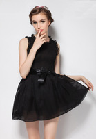chiffon dress summer 2014 New Fashion casual women sweet tank dress rose red and black Evening and party dress