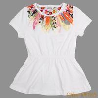 roupas de bebe  H piece  printed beautiul lower or girls summer sleeveness dress  atacado roupas infantil