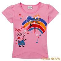 peppa pig party  K   Kids wear girls ches printed cartoon peppa pig and rainbow girls short sleeve t-shirts pepa