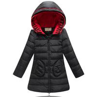 Fashion children girls parka 2014 winter medium long thick zipper outerwear coat high quality white duck down jacket with a hood