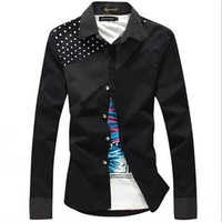 New 2014 Korean Style Slim Summer Shirts For Men Casual Stylish Polka Dot Long-Sleeved Stitching Men Shirts
