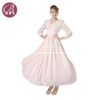 Elegant Flounced Collar Women 2014 Long Sleeved Big Swing Color Pink Chiffon Dress