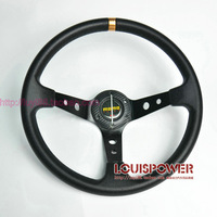 free shipping New 350mm Racing Sport MOMO PU Steering Wheel 904  black  Universal with horn