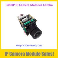 Popular 1080P IP Camera Modules Combo ( 2Megapixel ASC8848 (M2) Main Board + CS IR Cut + 3Megapixel CS 4mm lens +IP Cable)