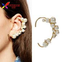 2014 fashion faux pearl ear cuff elegant gold alloy rhinestone no pierced ear hook earrings for women boucles bijoux wholesale