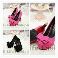 Luxury Shoes 2014 New Sexy Women Fashion Big Bowtie Shoes 11CM High Heel Thin Heel Korea Style High Heels Platform Pumps 988-11