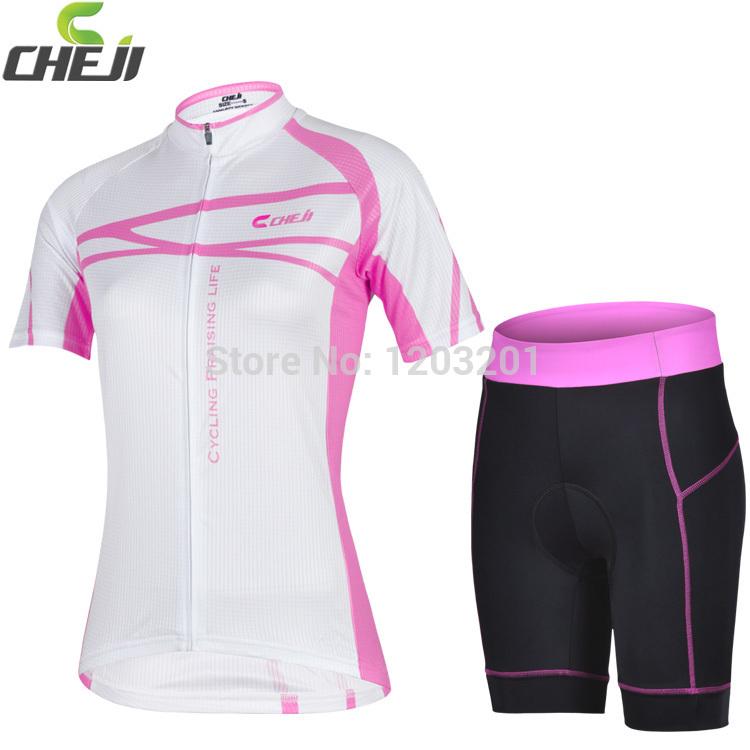2014 mais novo Ver?o Feminino equita??o desgaste da bicicleta GEL acolchoados Shorts Ciclismo Conjuntos de manga curta Jersey CHEJI Mulheres de bicicleta Jersey 3D<!-- task: 1966214285, db-id:  -->(China (Mainland))