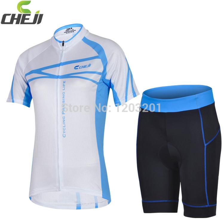 Nova CHEJI Feminino equitação desgaste da bicicleta 3D GEL acolchoados Shorts Conjuntos Ciclismo manga curta Jersey respirável Lycra Mulheres de bicicleta Jersey(China (Mainland))