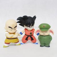 Anime Cartoon Dragon Ball Goku+Kuririn+Oolong PVC Action Figure Collection Model Toy set 3pcs/lot