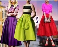 2014 High Waist women long Puff skirts american apparel neon Green Midi Pleated maxi Spring Summer Bottom Grunge Saias Longa
