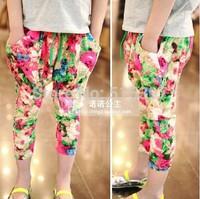 Free shipping Symphony girls summer hit color fluorescence cross big flower elastic waist pants harem pants e825 TZ02C05