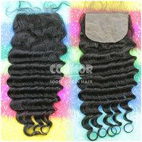 Free part deep wave silk closure 4*4 top closure no chemical process natural black hair