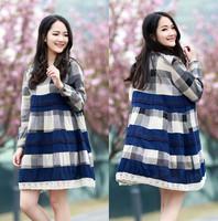 Quality Cotton/Linen Plaid Maternity Dress Clothes for Pregnant Women Plus Size Long-Sleeve Autumn Clothing Roupa Gestante 8080