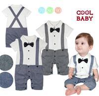 Children's summer models boys gentleman supply fake strap style short-sleeved Romper baby climbing clothes c129