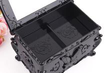 2015 New design flip black cosmetic case convenient makeup mirror storage makeup case delicacy jewelry box