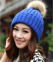 Fur ball Free Shipping Hot Sale 2014 Fashion Knitted  Women Beanie Girls Autumn Casual Cap Women's Warm Winter Hats Beanies