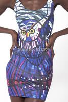 YWNN Advanced Blue Knitted Girl Casual Dress Vestidos Bird 3D Digital Print Women Sleeveless Dresses,Girls Sexy Bodycon