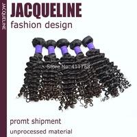 "Peruvian Virgin hair deep wave 5 pcs / lot 100% human hair Natural black 100g/pcs Size from 12""to 30"" Grade 6A"