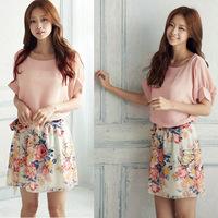 New !!!Summer Dress 2014 Fashion Women Floral Printed Short Sleeve Dresses Atacado Roupas Femininas Silky Dresses With Belts