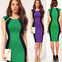 Fashion elegant  patchwork color block pencil dress xl 2014 summer sexy dr for ess free shipping