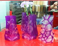 Free Ship  pvc foldable plastic vase( big size ; style random ,18cm*27cm ) fashion Home Decoration low carbon vase 500 pcs/ctn