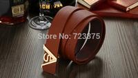 2014 South Korea new brand Men's smooth buckle belt,Men Lady fashion 100% joker PU belts+Metal belts buckle womens Free shipping