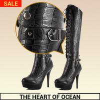 Fashion Korean feminine Long Boot PU Knee High Boot Alligator adjsutable Winter Women Shose New Brand Botas S166
